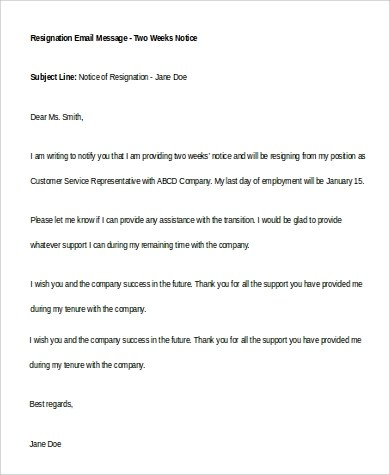 6+ Two Weeks Notice Samples Sample Templates - two week notice email