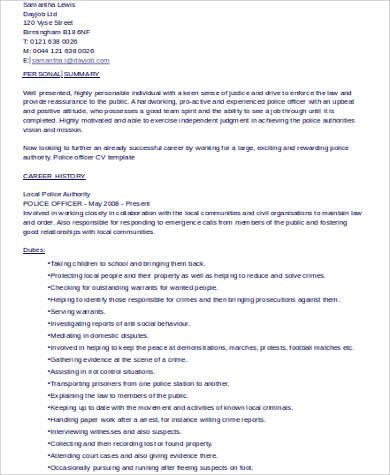 6+ Sample Police Officer Resumes Sample Templates - peace officer sample resume