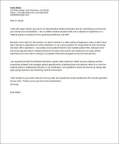 Sample Cover Letter for Medical Assistant - 8+ Examples in Word, PDF