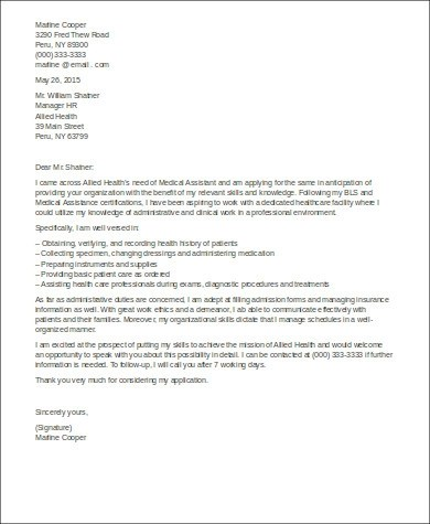 8+ Sample Cover Letters for Medical Assistant Sample Templates - cover letter for medical assistant