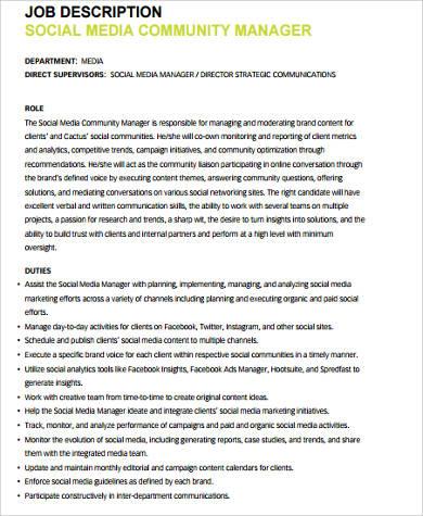 9+ Social Media Job Description Samples Sample Templates