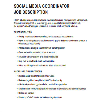 9+ Social Media Job Description Samples Sample Templates