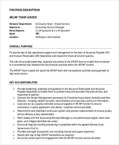 Superb Team Lead Job Description Sample   9+ Examples In PDF   Account Payable Job  Description