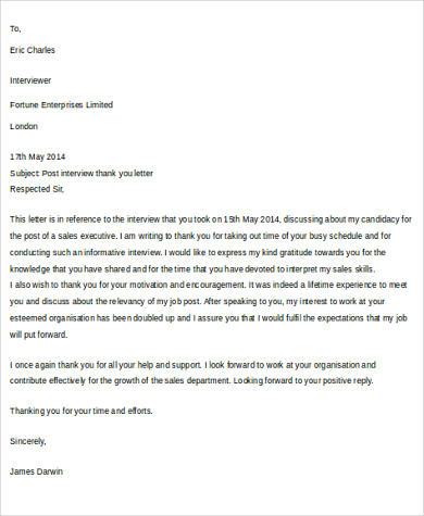 Interview Thank You Letter Sample - 7+ Examples in Word, PDF - writing post interview thank you letters