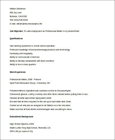 Serving Resume Examples Fast Food Server Resume Sample - waiter resume