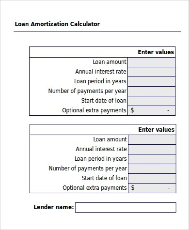 6+ Amortization Excel Samples Sample Templates - Amortization Calculator Excel