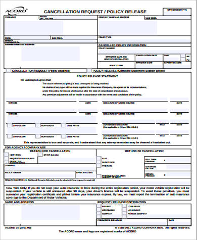 7+ Sample ACORD Cancellation Forms Sample Templates - acord form