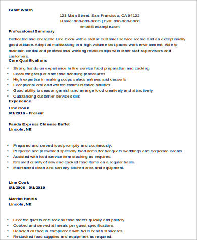 8+ Sample Cook Resumes Sample Templates