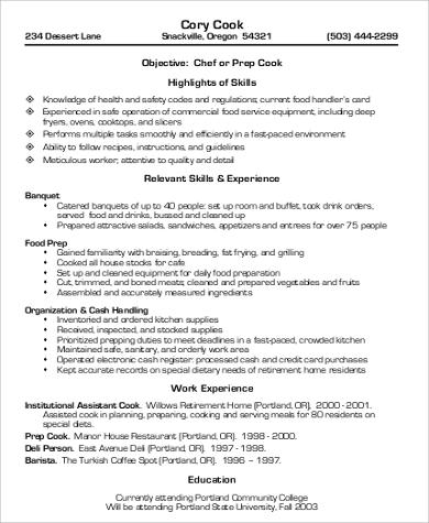 8+ Sample Cook Resumes Sample Templates - resume for cooks