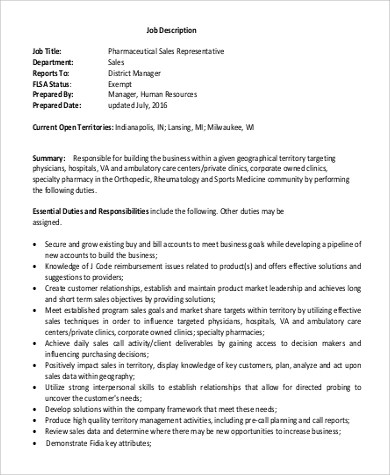 9+ Sample Sales Representative Job Description \u2013 PDF, DOC Sample - sales job description