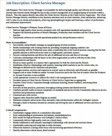 Service Manager Job Description Sample - 13+ Examples in Word, PDF