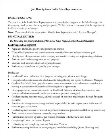9+ Sample Sales Representative Job Description \u2013 PDF, DOC Sample