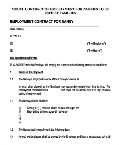 Sample Nanny Contract - 7+ Examples in Word, PDF - nanny agreement contract