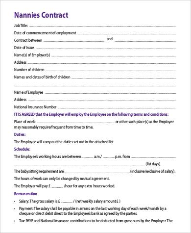 nanny agreement contract - Basilosaur