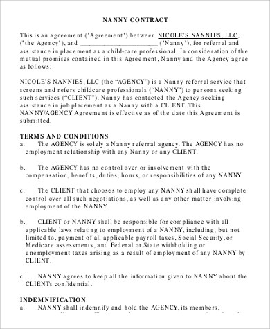 7+ Sample Nanny Contracts Sample Templates