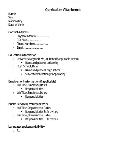 9+ Format for Resume Samples Sample Templates - employment resume format