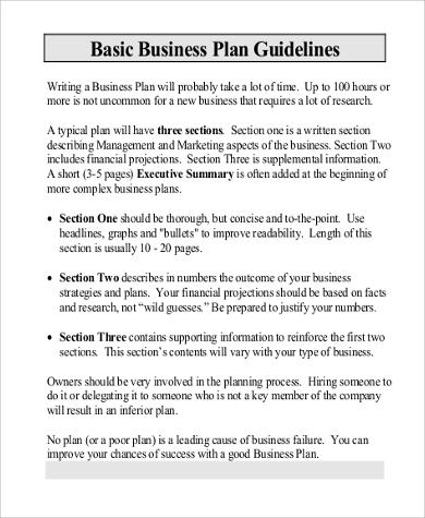6+ Business Plan Format Samples Sample Templates