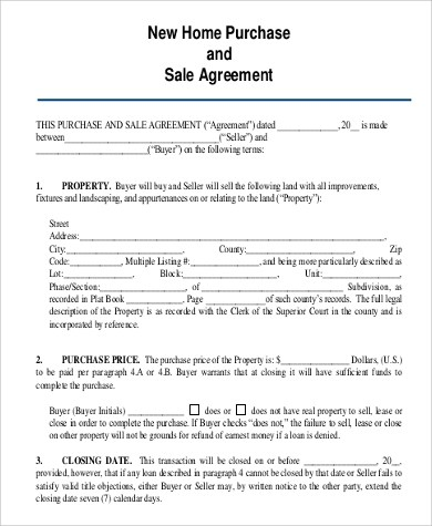 Home Purchase Agreement Sample - 6+ Examples in PDF - purchase and sales agreement