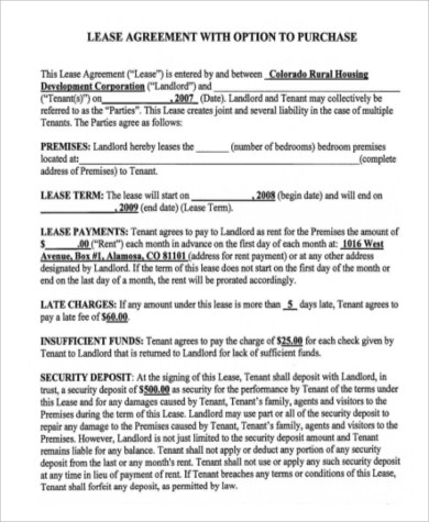6+ Home Purchase Agreement Samples Sample Templates - Lease Purchase Agreement