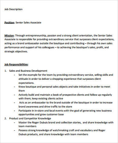 9+ Sample Sales Associate Job Descriptions Sample Templates