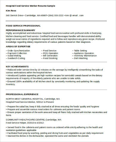 6+ Food Service Resume Samples Sample Templates