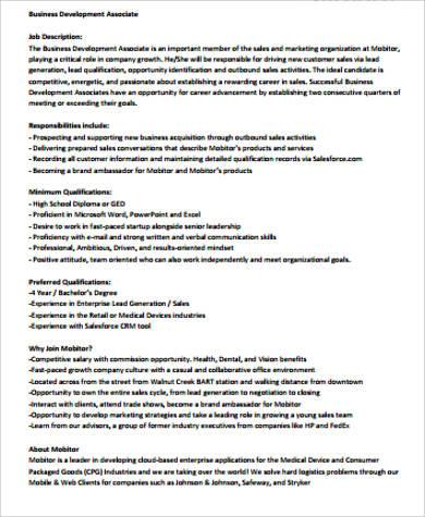 sale associate duties resume