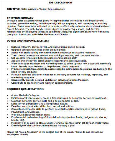 Sales Associate Job Description Sample - 10+ Examples in Word, PDF