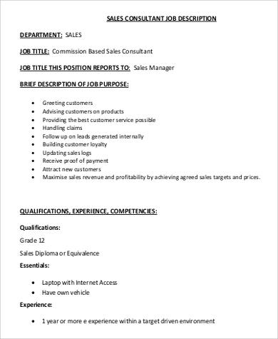 9+ Sales Consultant Job Description Samples Sample Templates - sales job description