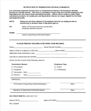Sample Employee Termination Form - 8+ Examples in Word, PDF - employee termination form