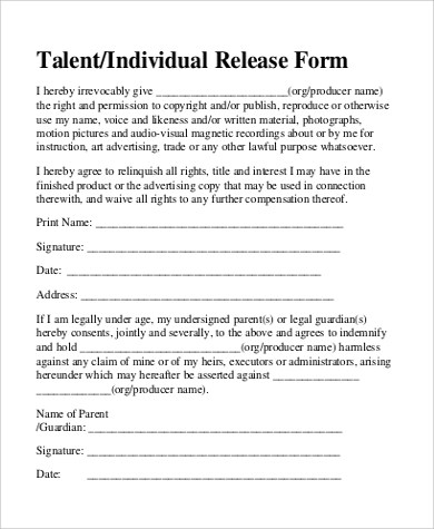 9+ Sample Talent Release Forms Sample Templates - talent release form template