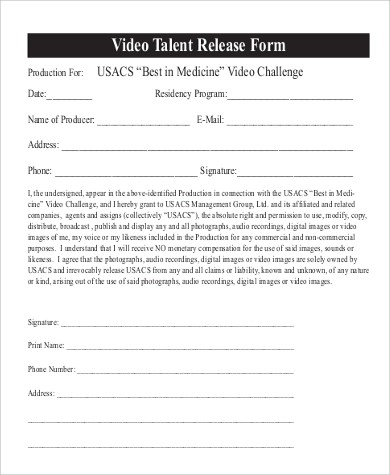 Video Release Form Sample Video Release Form  Examples In Pdf Word