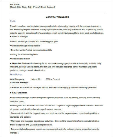 8+ Sample Assistant Manager Resumes Sample Templates - sample assistant manager resume