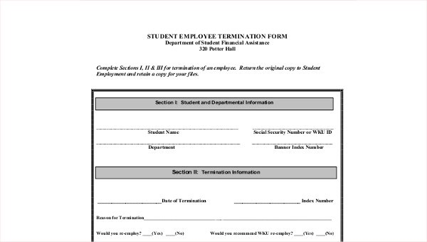 8+ Sample Employee Termination Forms Sample Templates