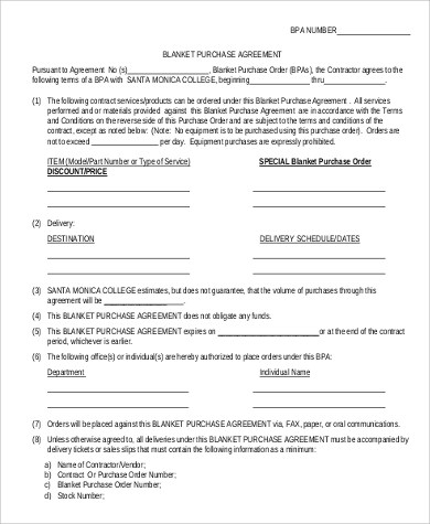 Sample Blanket Purchase Agreement - 9+ Examples in Word, PDF - purchase agreement samples