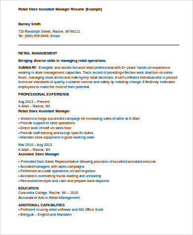 8+ Sample Assistant Manager Resumes Sample Templates - Retail Store Manager Resume