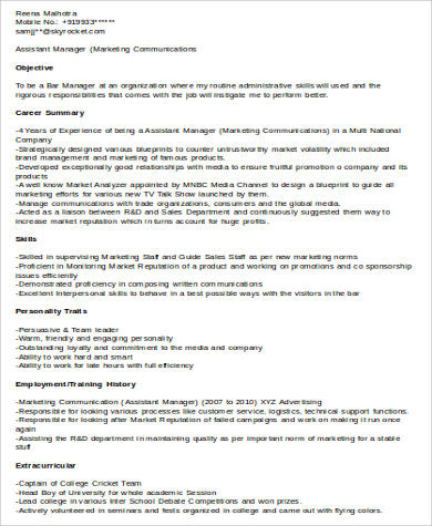 8+ Sample Assistant Manager Resumes Sample Templates