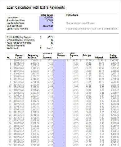 Sample Loan Amortization Spreadsheet - 6+ Examples in Word, PDF, Excel