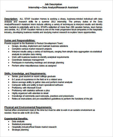 10+ Research Analyst Job Description Samples Sample Templates