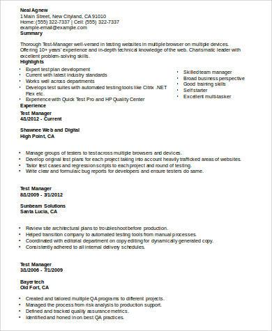 7+ Sample Program Manager Resumes Sample Templates - test manager resume