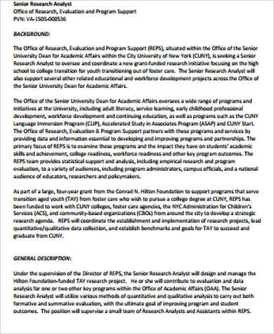 Research Analyst Job Description Sample - 10+ Examples in Word,DF