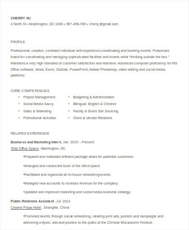 8+ Sample Event Coordinator Resumes in Word, PDF Sample Templates