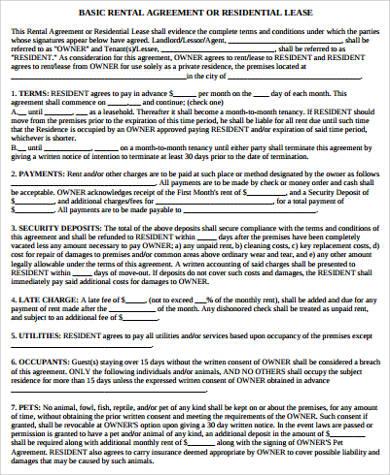 Sample Blank Rental Agreement - 9+ Examples in Word, PDF