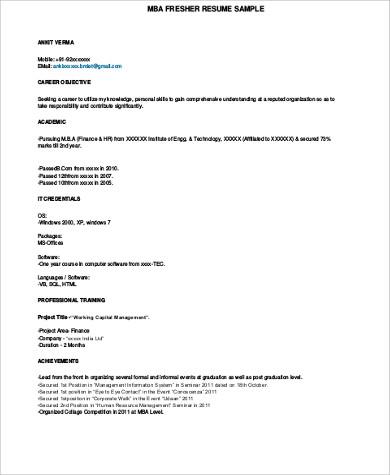 Sample MBA Resume - 7+ Examples in Word, PDF