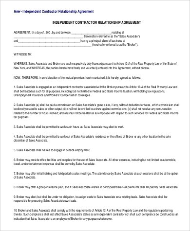 Relationship Agreement Template 20+ relationship contract - independent contractor agreement form