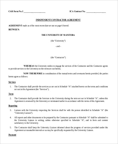 9+ Sample Independent Contractor Agreement Forms Sample Templates