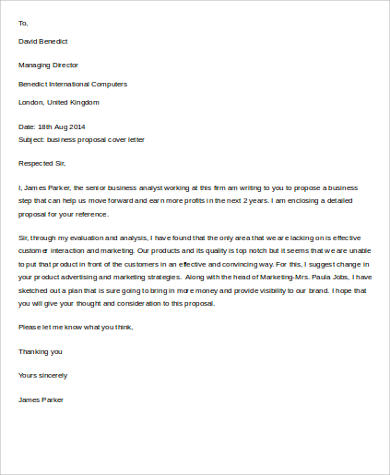 Business Proposal Letter Sample - 9+ Examples in Word, PDF - business proposal cover letter