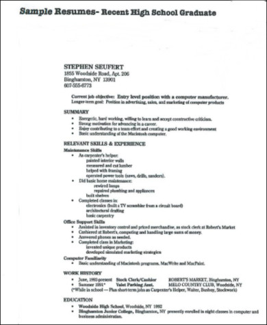 8+ Sample High School Graduate Resumes Sample Templates - high school graduate resume samples