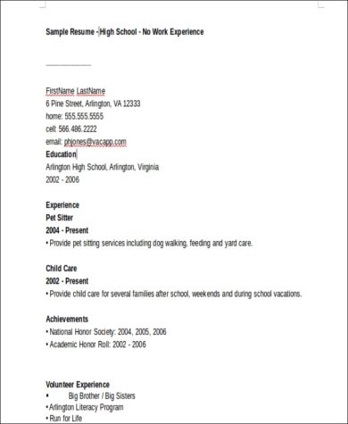 basic resume template no work experience high school graduate curriculum vitae samples sample