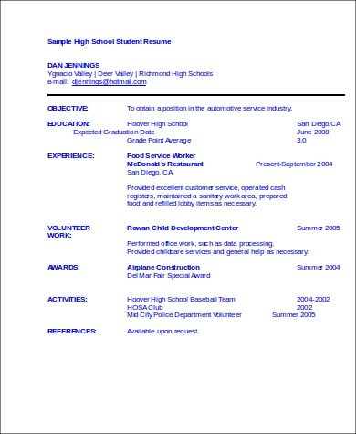 8+ Sample High School Graduate Resumes Sample Templates