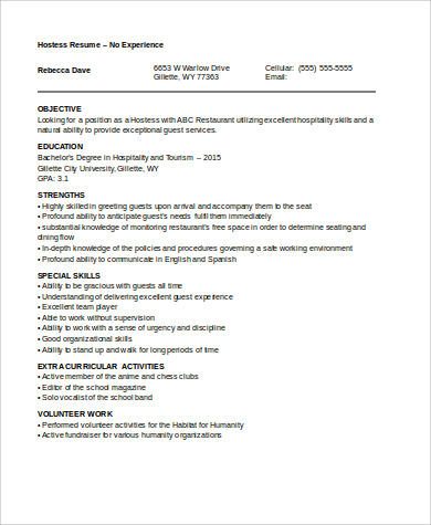 No Experience Resume Sample - 7+ Examples in Word, PDF